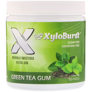 Xyloburst, Xylitol Chewing Gum, Green Tea, 100 Pieces, 5.29 oz (150 g)