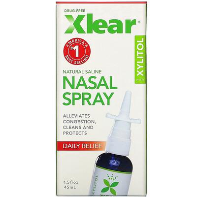 Купить Xlear Солевой назальный спрей с ксилитолом, быстрого действия, 45мл