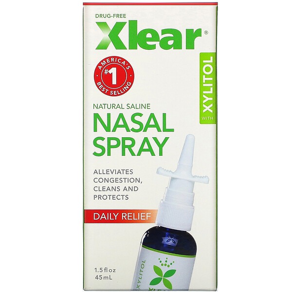 Xlear, Spray Nasal physiologique de xylitol, un soulagement rapide, 1,5 fl oz (45 ml)