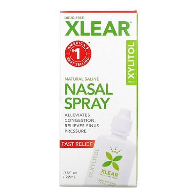 Xlear натуральный солевой назальный спрей с ксилитолом, быстрого действия, 22мл (75жидк.унций)