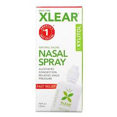 Xlear, 木糖醇天然鹽水鼻噴霧劑,快速緩解,0.75 液量盎司(22 毫升)