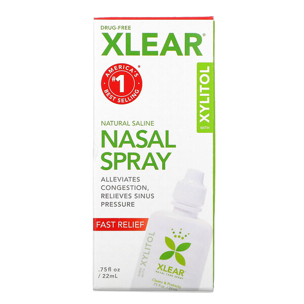 Natural Saline Nasal Spray with  Xylitol, Fast Relief, .75 fl oz (22 ml)
