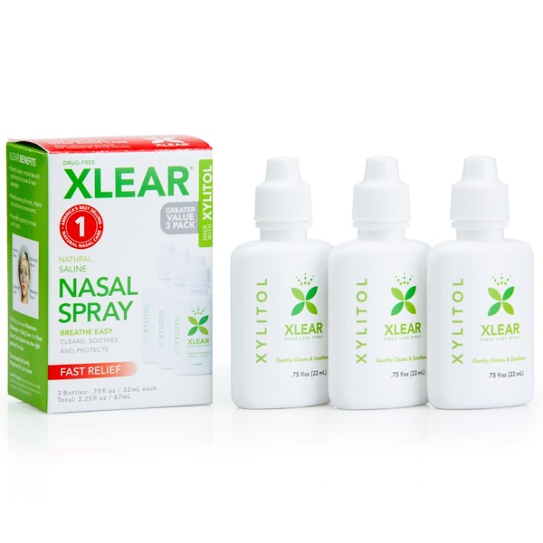 Xlear, Xylitol, Natural Saline Nasal Spray, 3 Bottles, .75 fl oz (22 ml) Each (Discontinued Item)
