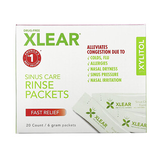 Xlear, Sinus Care Rinse Packets, Fast Relief, 20 Count, 6 g Each