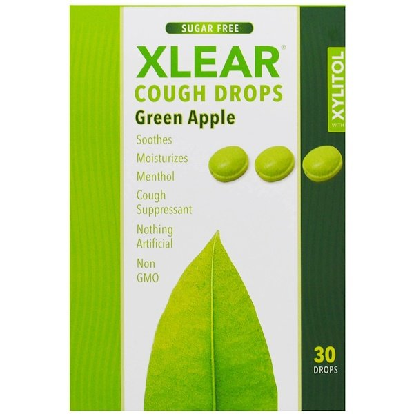 Xlear, Xylitol, Cough Drops, Sugar Free, Green Apple, 30 Drops (Discontinued Item)