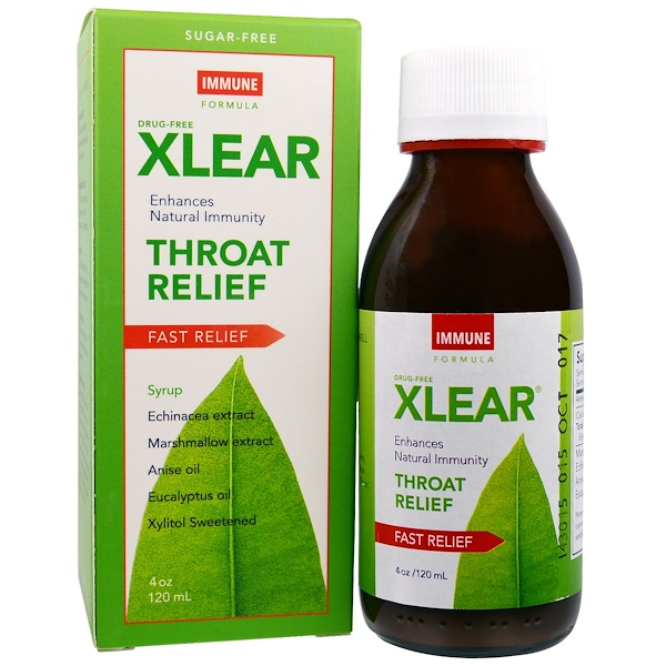 Xlear, Throat Relief Syrup, Fast Relief, Immune Formula, 4 oz (120 ml) (Discontinued Item)