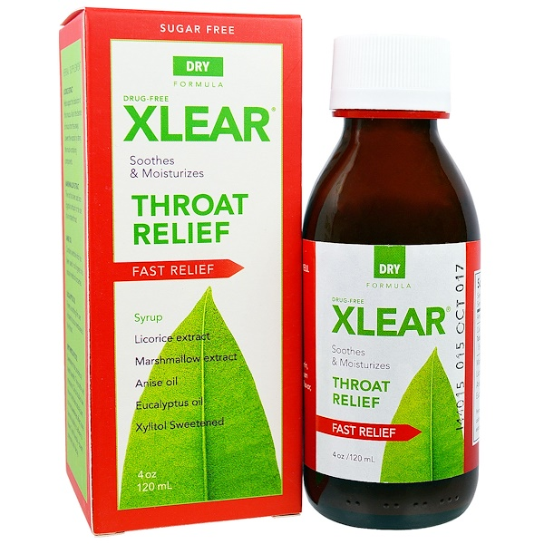 Xlear, Throat Relief Syrup, Fast Relief, Dry Formula, 4 oz (120 ml) (Discontinued Item)