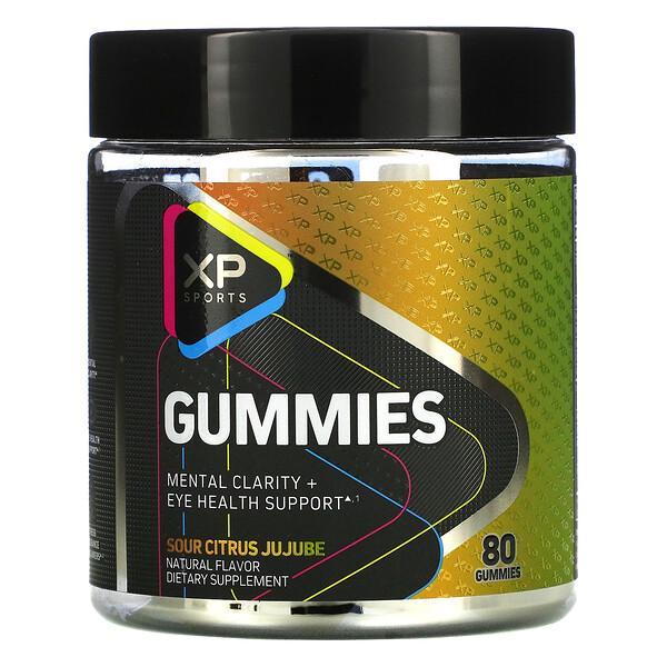 XP Sports, Gummies, Mental Clarity + Eye Health Support, Sour Citrus Jujube, 80 Gummies