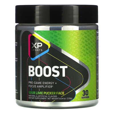 Купить XP Sports Boost, Pre-Game Energy + Focus Amplifier, Sour Lime Pucker Face, 8.04 oz (228 g)