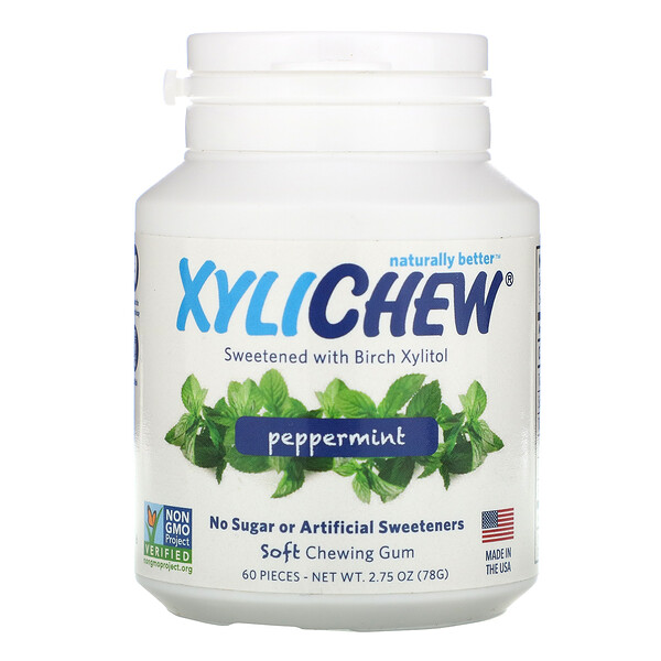 Sweetened with Birch Xylitol, Peppermint, 60 Pieces, 2.75 oz (78 g)