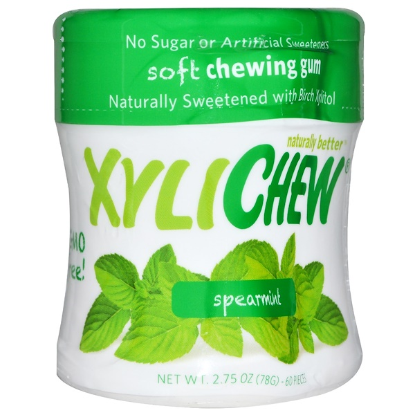 Xylichew Gum, Spearmint, 60 Pieces, 2.75 oz (78 g)