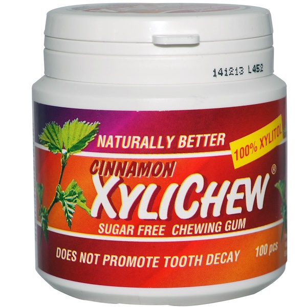 Xylichew, XyliChew Sugar Free Chewing Gum, Cinnamon, 100 Pcs (Discontinued Item)