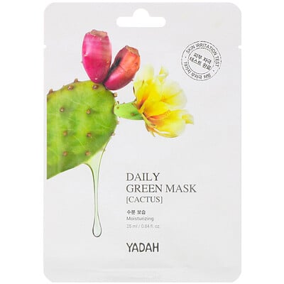 Yadah Daily Green Mask, Cactus, 1 Sheet, 0.84 fl oz (25 ml)