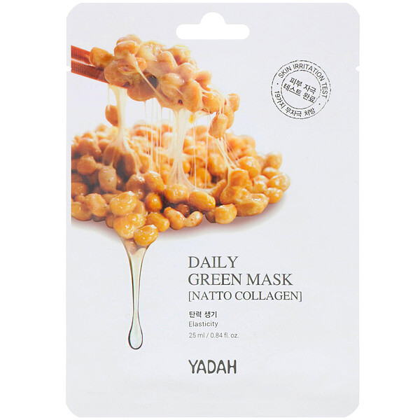 Yadah, Daily Green Mask, Natto Collagen, 1 Sheet, 0.84 fl oz (25 ml)