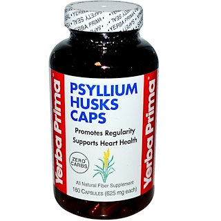 Yerba Prima, Капсулы с шелухой семян подорожника, 625 мг, 180 капсул
