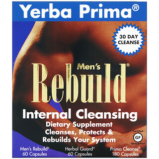 Yerba Prima, Men's Rebuild Internal Cleansing, программа из 3 этапов, 3 флакона