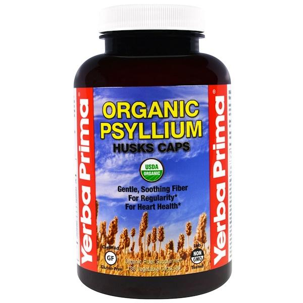 Yerba Prima, Organic Psyllium Husks Caps, 180 Veggie Caps (Discontinued Item)