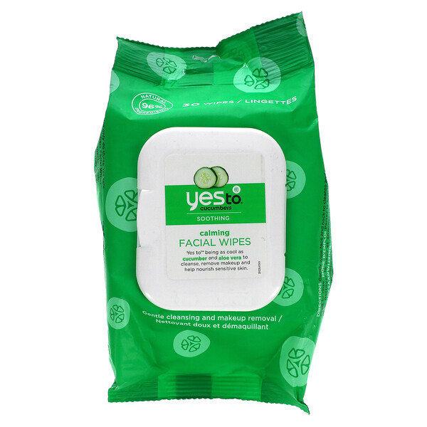 Yes To, Calming Facial Wipes, Cucumbers, 30 Wipes