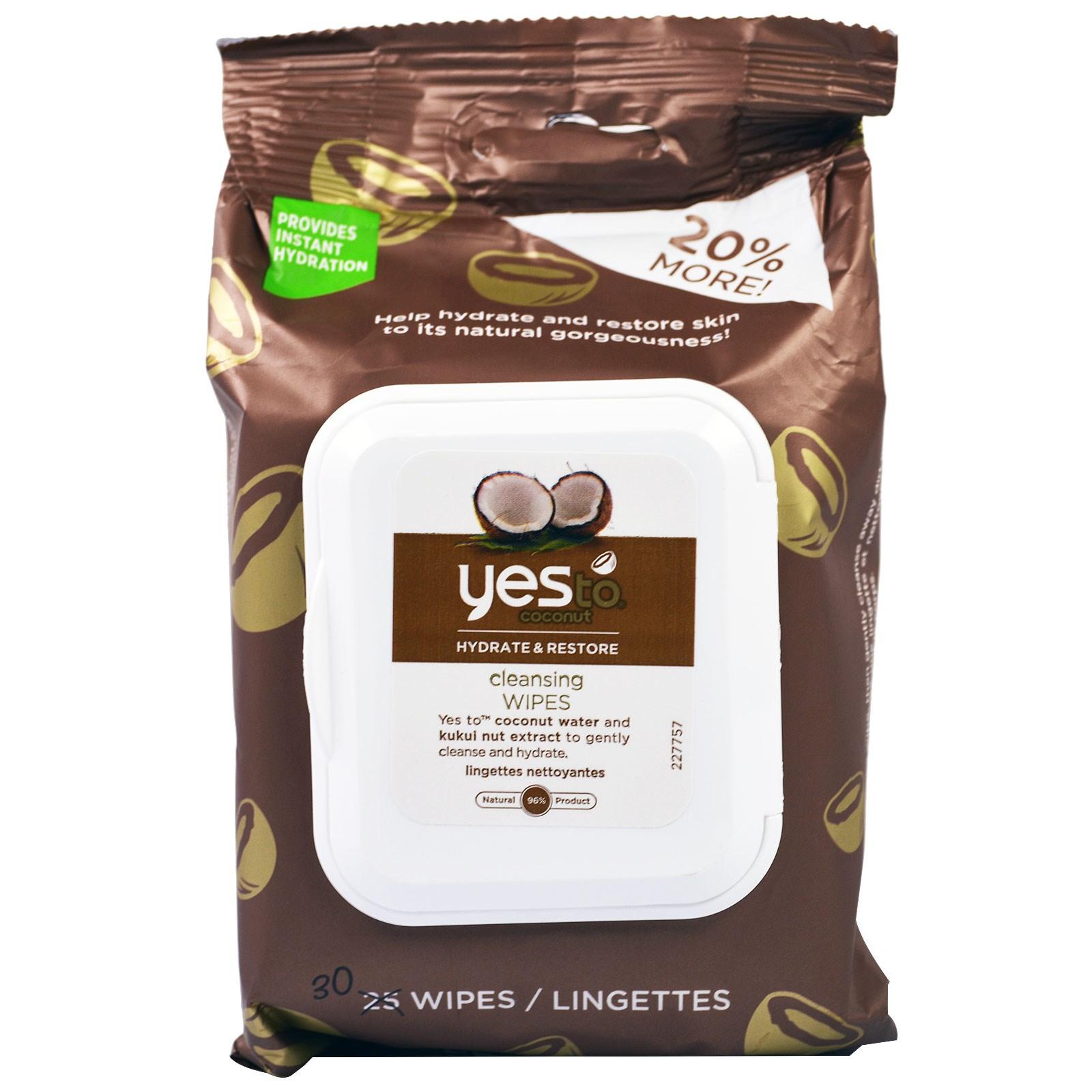 Yes to, Увлажняет и восстанавливает, очищающие салфетки, кокос, 30 салфеток