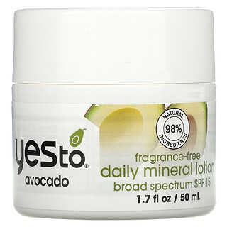 Yes to, Daily Mineral Lotion, SPF 15, Avocado, Fragrance-Free, 1.7 fl oz (50 ml)