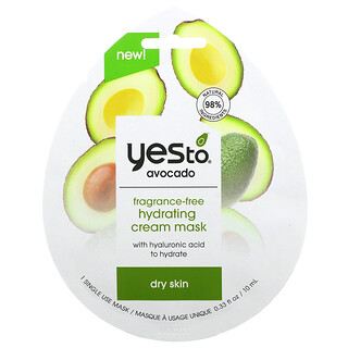 Yes To, Avocado, Hydrating Cream Beauty Mask, Fragrance-Free, 1 Sheet, 0.33 fl oz (10 ml)