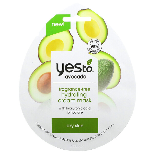 Avocado, Hydrating Cream Beauty Mask, Fragrance-Free, 1 Sheet, 0.33 fl oz (10 ml)
