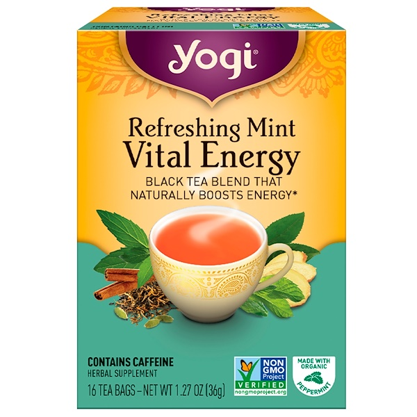 Yogi Tea, Vital Energy, Refreshing Mint, 16 Tea Bags, 1.27 oz (36 g) (Discontinued Item)