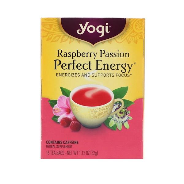 Yogi Tea, ラズベリーパッション、パーフェクトエナジー、ティーバッグ 16個、1.12 oz (32 g)