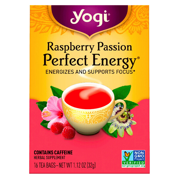 Yogi Tea, Raspberry Passion, Perfect Energy, 16 Tea Bags, 1.12 oz (32 g)