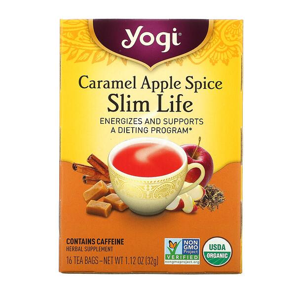 Yogi Tea, Slim Life, карамель, яблоко и пряности, 16чайных пакетиков, 32г (1,12унции) (Discontinued Item)