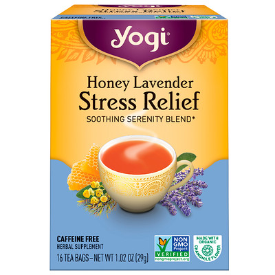 Купить Органический, медовая лаванда, избавление от стресса, без кофеина, 16 чайных пакетиков, 1, 02 унц. (29 г)