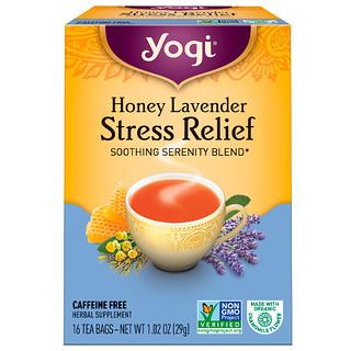 Yogi Tea, ストレス緩和のためのハチミツラベンダー(Honey Lavender Stress Relief), カフェインフリー, 16ティーバッグ, 1.02オンス(29 g)