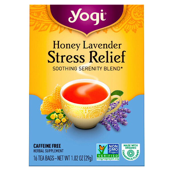 Organic, Honey Lavender Stress Relief, Caffeine Free, 16 Tea Bags, 1.02 oz (29 g)