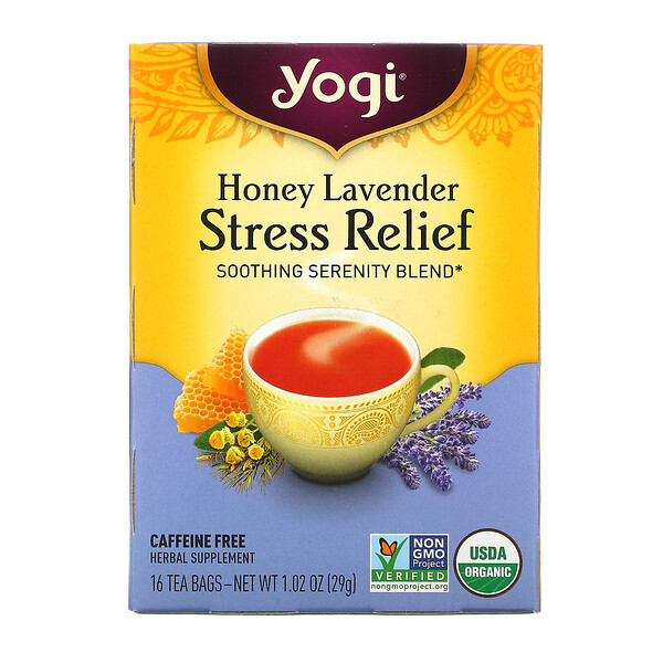 Yogi Tea, Stress Relief, Honey Lavender, Caffeine Free, 16 Tea Bags, 1.02 oz (29 g)