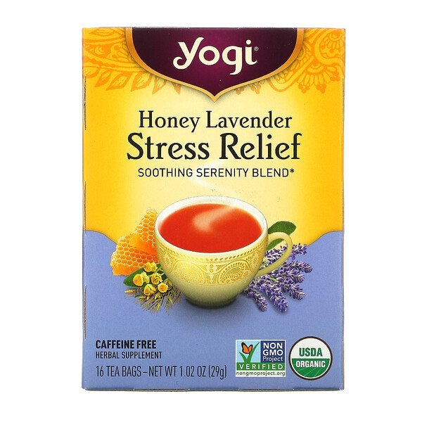 Stress Relief, Honey Lavender, Caffeine Free, 16 Tea Bags, 1.02 oz (29 g)