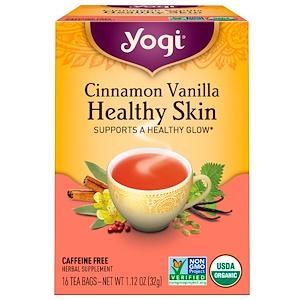 Йоги Ти, Cinnamon Vanilla Healthy Skin, Caffeine Free, 16 Tea Bags, 1.12 oz (32 g) отзывы покупателей