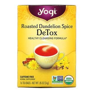 Yogi Tea, Detox, вкус жареного одуванчика и специй, без кофеина, 16чайных пакетиков, 24г (0,85 унции)