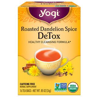 Yogi Tea, تنظيف الجسم بتوابل الهندباء البرية المحمصة، خال من الكافيين، 16 كيس شاي، 0.85 أوقية (24 غ).