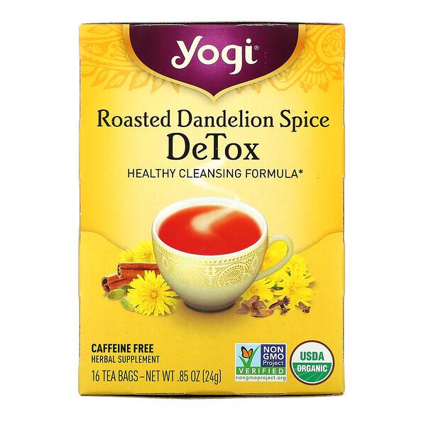 Detox, Roasted Dandelion Spice, Caffeine Free, 16 Tea Bags, 0.85 oz (24 g)