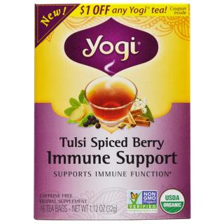 Yogi Tea, Tulsi Spiced Berry Immune Support, 16 Tea Bags, 1.12 oz (32 g)