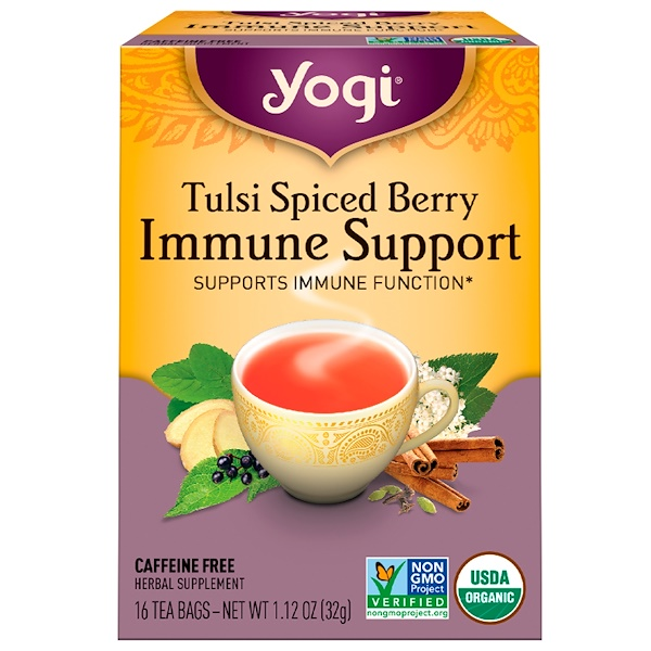 Yogi Tea, Tulsi Spiced Berry Immune Support, 16 Tea Bags, 1.12 oz (32 g) (Discontinued Item)