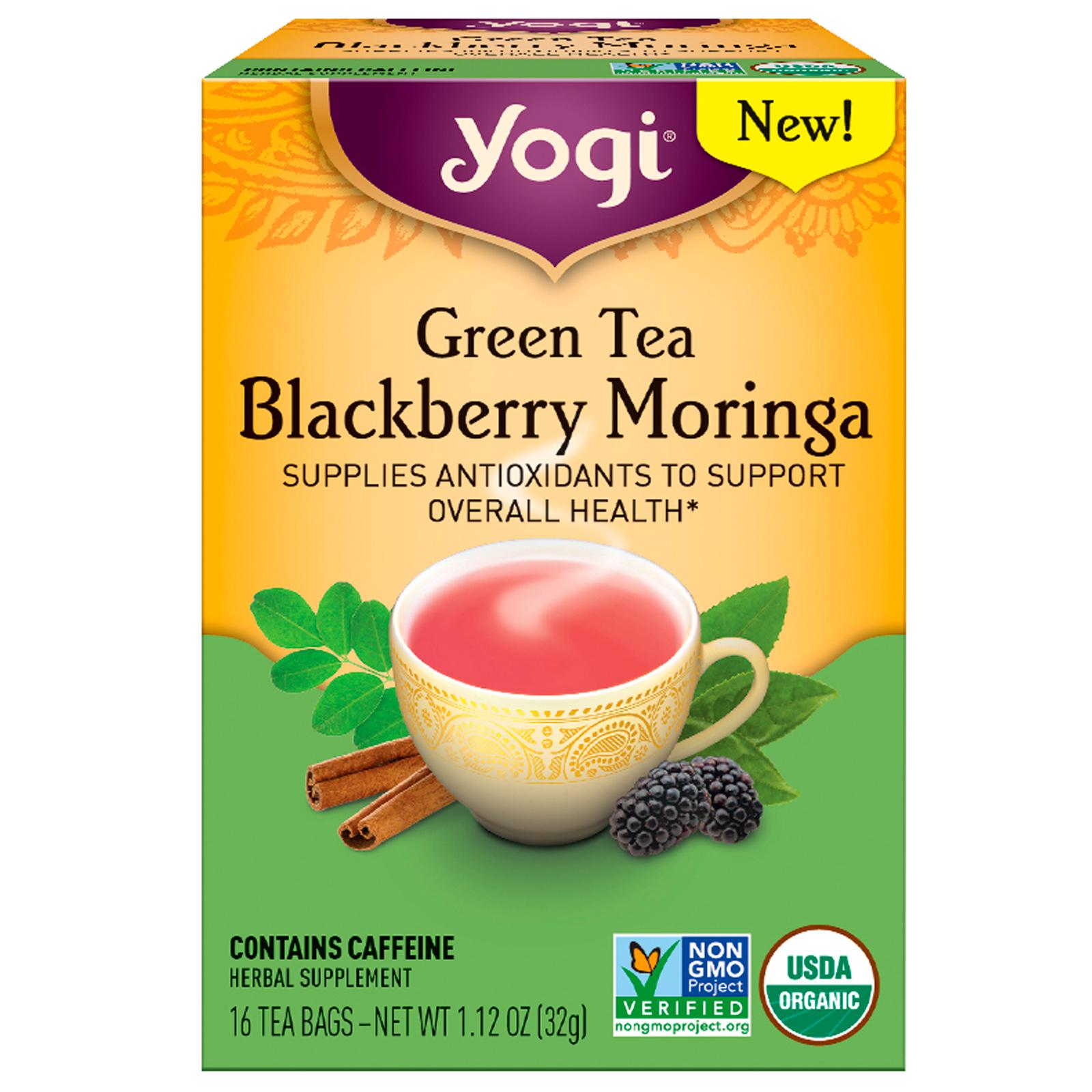 Yogi Tea, Зеленый чай с черникой и морингой, 16 пакетиков, 32 г (1.12 oz)