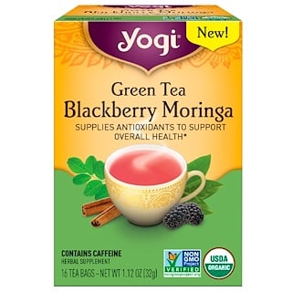 Yogi Tea, Green Tea Blackberry Moringa, 16 Tea Bags, 1.12 oz (32 g)