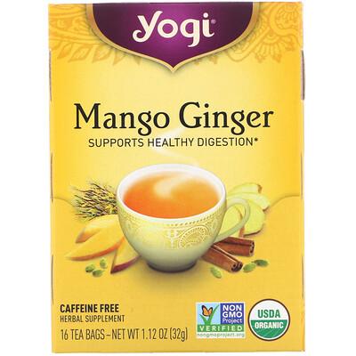 Органический чай с манго и имбирем, без кофеина, 16чайных пакетиков, 32г (1,12унций) органические куркума таволга и имбирь 16 изолированных чайных пакетиков 1 13 унций 32 г