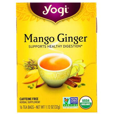 Органический чай с манго и имбирем, без кофеина, 16чайных пакетиков, 32г (1,12унций)
