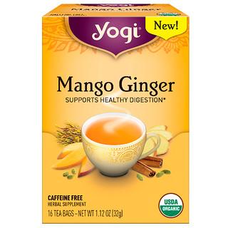 Yogi Tea, マンゴージンジャー, カフェインフリー, ティーバッグ16袋, 1.12オンス (32 g)