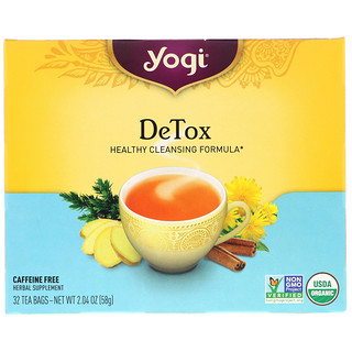 Yogi Tea, デトックス、カフェインフリー、32ティーバッグ、2.04オンス (58 g)