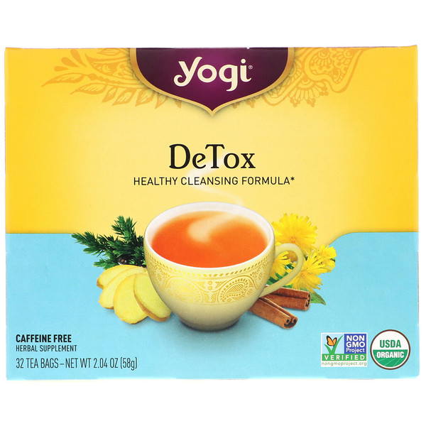 Yogi Tea, Detox, sin cafeína, 32 saquitos de té, 2.04 oz (58 g) (Discontinued Item)