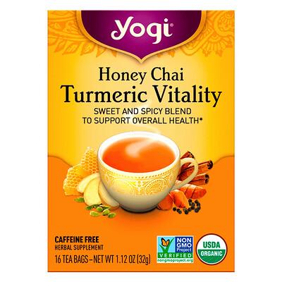Yogi Tea Honey Chai, Turmeric Vitality, 16 Tea Bags, 1.12 oz (32 g)  - купить со скидкой