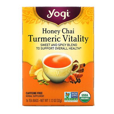 Yogi Tea Turmeric Vitality, Honey Chai, 16 Tea Bags, 1.12 oz (32 g)